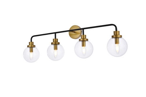 Living Disrict LD7037W38BRB Hanson 4 lights bath sconce in black with brass with clear shade