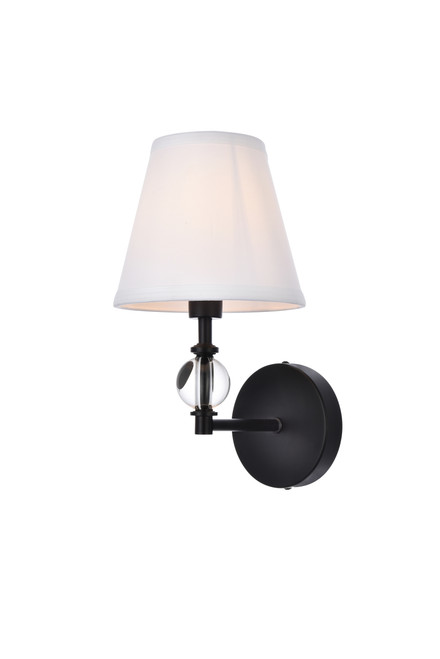 Living Disrict LD7021W6BK Bethany 1 light bath sconce in black with white fabric shade