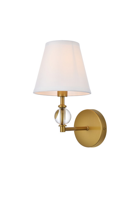 Living Disrict LD7021W6BR Bethany 1 light bath sconce in brass with white fabric shade