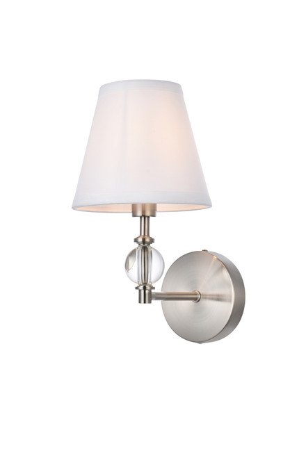 Living Disrict LD7021W6SN Bethany 1 light bath sconce in stain nickel with white fabric shade