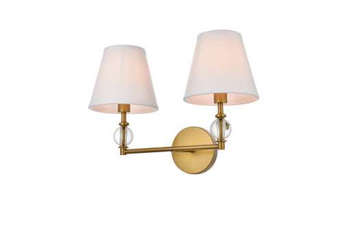 Living Disrict LD7022W15BR Bethany 2 lights bath sconce in brass with white fabric shade
