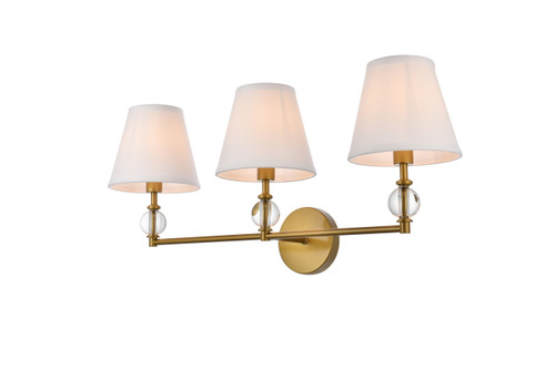 Living Disrict LD7023W24BR Bethany 3 lights bath sconce in brass with white fabric shade