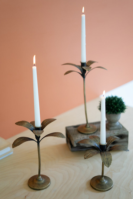 KALALOU CBB1130 SET OF THREE ANTIQUE BRASS PALM TREE  CANDLE HOLDERS