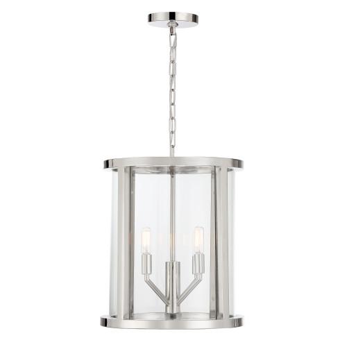 CRYSTORAMA DEV-B8004-PN Libby Langdon for Crystorama Devon 4 Light Polished Nickel Lantern