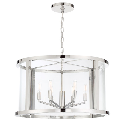 CRYSTORAMA DEV-B8066-PN Libby Langdon for Crystorama Devon 6 Light Polished Nickel Lantern
