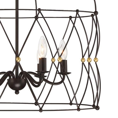 CRYSTORAMA ZUC-A9035-EB-GA Zucca 6 Light English Bronze & Antique Gold Lantern