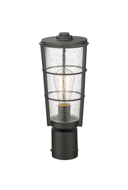 Z-LITE 591PHM-BK 1 Light Outdoor Post Mount Fixture ,Black