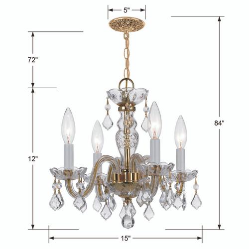 CRYSTORAMA 1064-PB-CL-I Traditional Crystal 4 Light Clear Crystal Brass Mini Chandelier