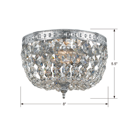 CRYSTORAMA 708-CH-CL-I Crystorama 2 Light Clear Crystal Chrome Ceiling Mount I