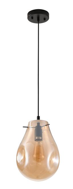 BETHEL INTERNATIONAL DLS49P8A 1-Light Pendant Black & Amber