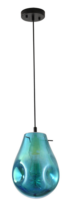 BETHEL INTERNATIONAL DLS49P8B 1-Light Pendant Black & Blue