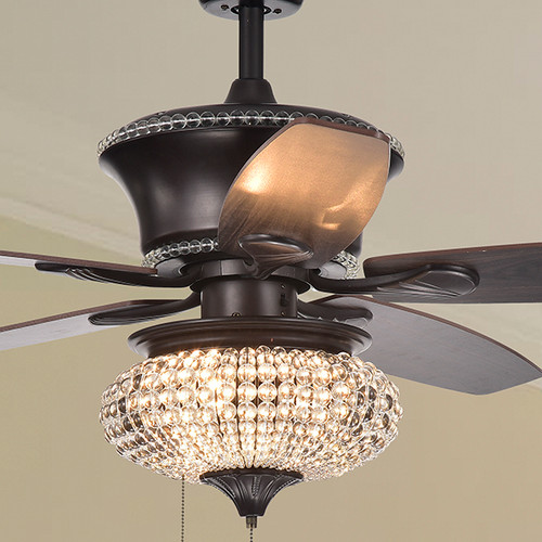 WAREHOUSE OF TIFFANY'S CFL-8305 Vasilisa 15 in. 1-Light Indoor Bronze Finish Hand Pull Chain Ceiling Fan with Light Kit