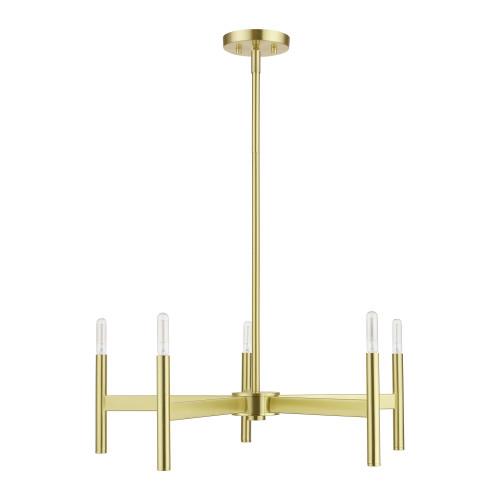 LIVEX LIGHTING 51175-12 Satin Brass 5-Light Chandelier Satin Brass