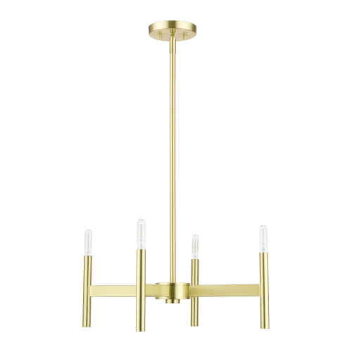 LIVEX LIGHTING 51174-12 Satin Brass 4-Light Chandelier Satin Brass