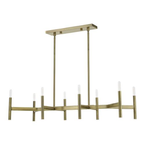 LIVEX LIGHTING 51178-01 Antique Brass 8-Light Linear Chandelier Antique Brass