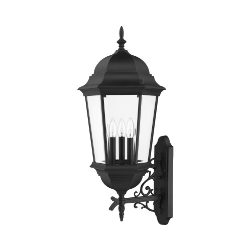 LIVEX LIGHTING 7566-04 3 Light Outdoor Wall Lantern Black