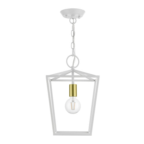 LIVEX LIGHTING 49432-03 White 1-Light Square Lantern White with Satin Brass Accent