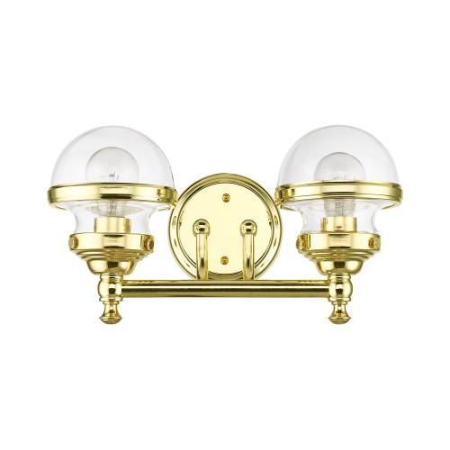 LIVEX LIGHTING 17412-02 Polished Brass 2-Light Vanity Sconce Polished Brass