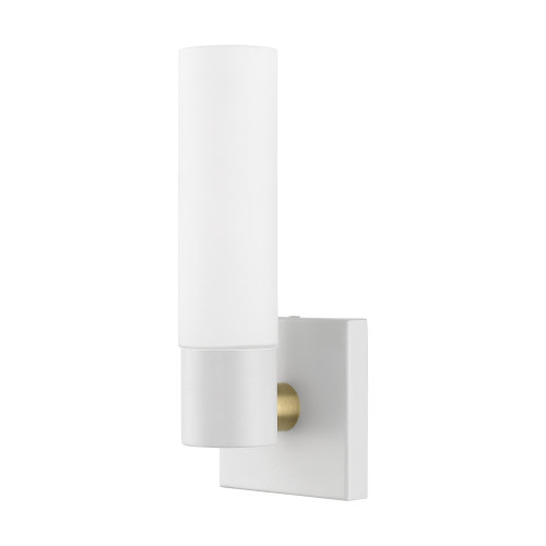 LIVEX LIGHTING 10101-13 Textured White ADA Single Sconce Textured White with Antique Brass Accent