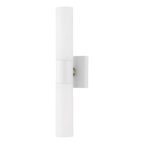 LIVEX LIGHTING 10102-13 Textured White ADA 2-Light Vanity Sconce Textured White with Brushed Nickel Accent