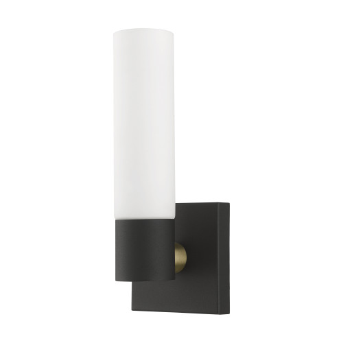 LIVEX LIGHTING 10101-14 Textured Black ADA Single Sconce Textured Black with Antique Brass Accent