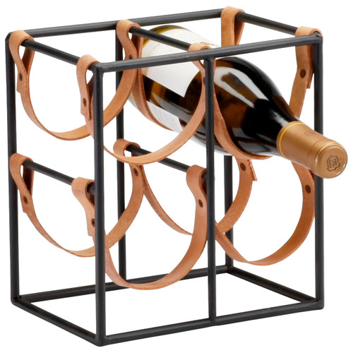 CYAN DESIGN 04913 Small Brighton Wine Holder, Raw Steel