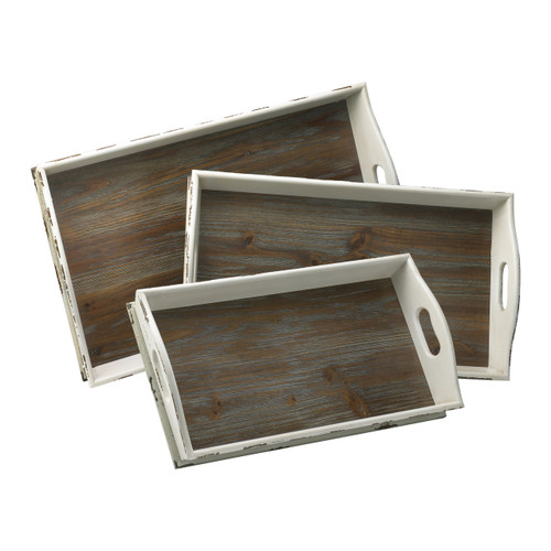 CYAN DESIGN 02470 Alder Nesting Trays, Distressed White And Gray