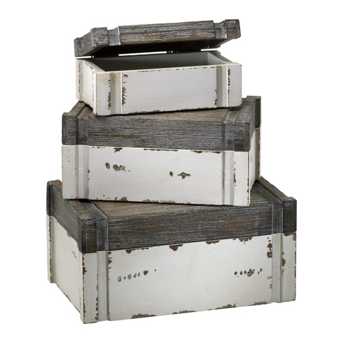 CYAN DESIGN 02471 Alder Boxes, Distressed White And Gray