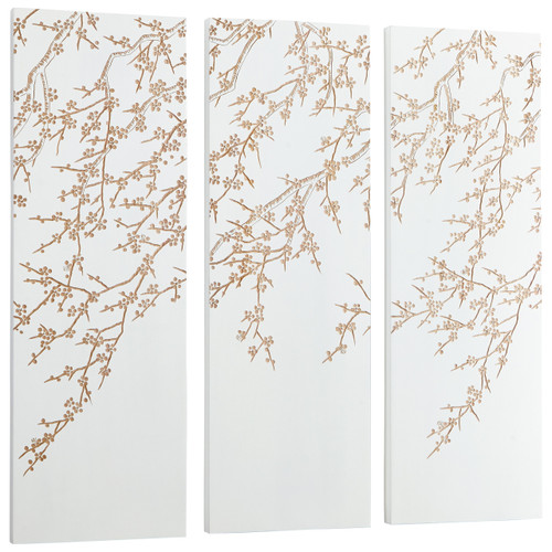 CYAN DESIGN 07518 Cherry Blossom Wall Art, White and Gold