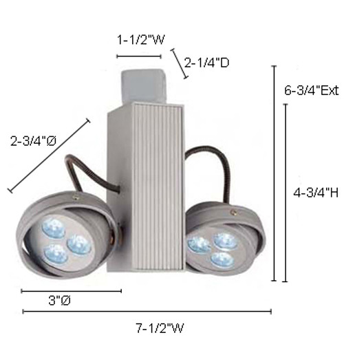 JESCO Lighting JL5216X1W4540S 6X1W ConTempo Series LED Track Light, 4000K, Silver