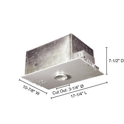 """JESCO Lighting LV3000ICA 3"""" Low Voltage Airtight IC Housing for New Construction, Silver"""