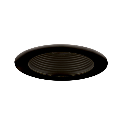 "JESCO Lighting TM401BKBK 4"" Low Voltage Adjustable Step Baffle Trim, Black Reflector, Black Trim"