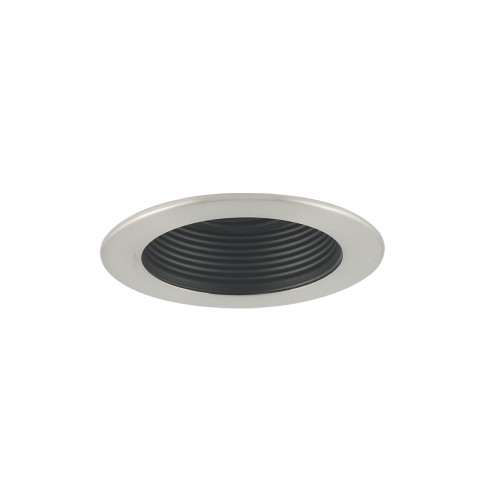 "JESCO Lighting TM401BKST 4"" Low Voltage Adjustable Step Baffle Trim, Black Baffle, Satin Chrome Trim"
