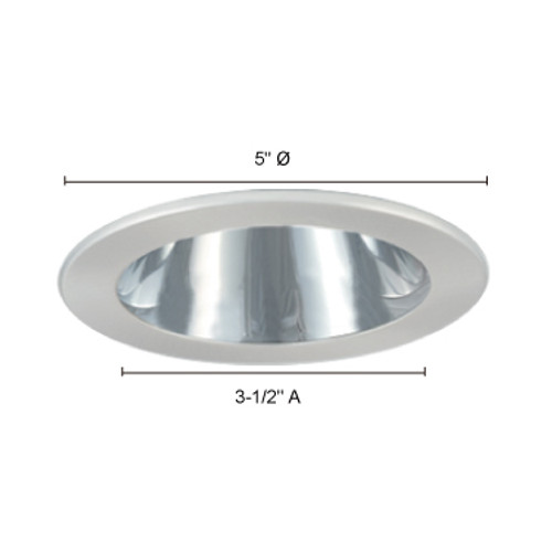 "JESCO Lighting TM402PBWH 4"" Low Voltage Adjustable Open Reflector Trim, Polished Brass Reflector, White Trim"