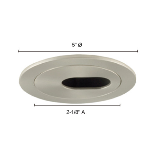 "JESCO Lighting TM403ST 4"" Low Voltage Adjustable 2-pc Oval Slot Aperture BK Interior, Satin Chrome"