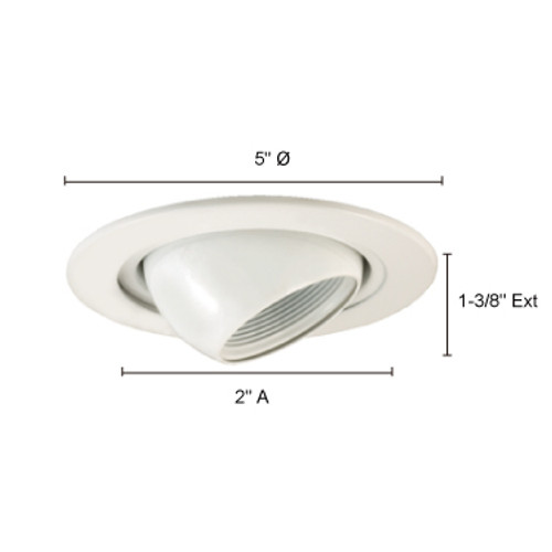 JESCO Lighting TM405WH Low Voltage Adjustable Eyeball Trim with Step Baffle, White