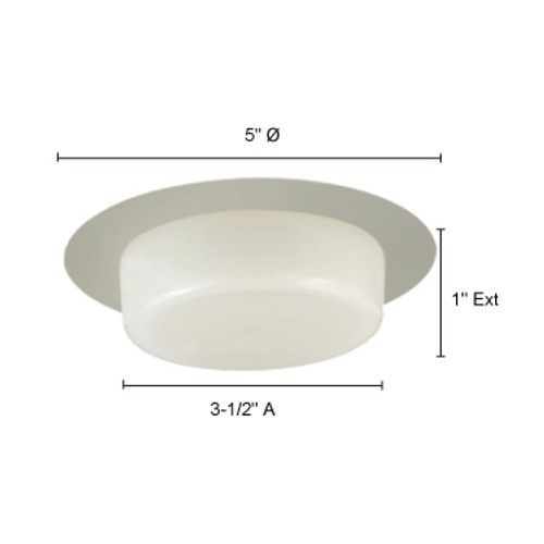 "JESCO Lighting TM410WH 4"" Low Voltage Dropped Dish Shower Trim with Frosted Opal White Glass, White"