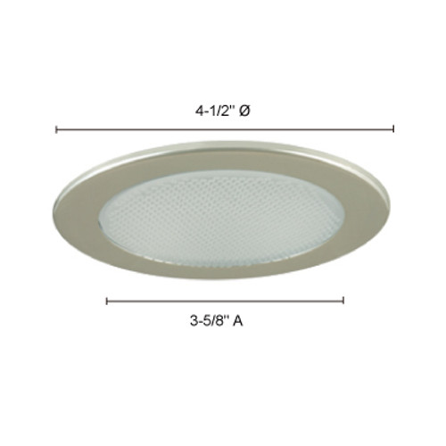 """JESCO Lighting TM412WH 4"""" Low Voltage Shower Trim with Albalite Glass, White"""