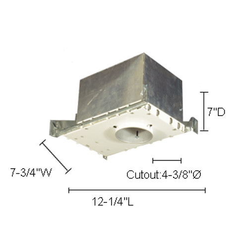 """JESCO Lighting LV4000IC 4"""" Low Voltage IC Housing For New Construction"""