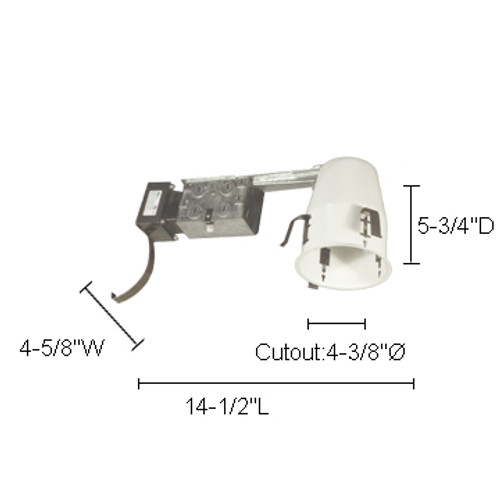 """JESCO Lighting LV4000RA 4"""" Low Voltage Non IC Airtight Housing For Remodeling"""