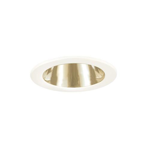 JESCO Lighting TM202PBWH 4-INCH Polished Brass Reflector, White Trim