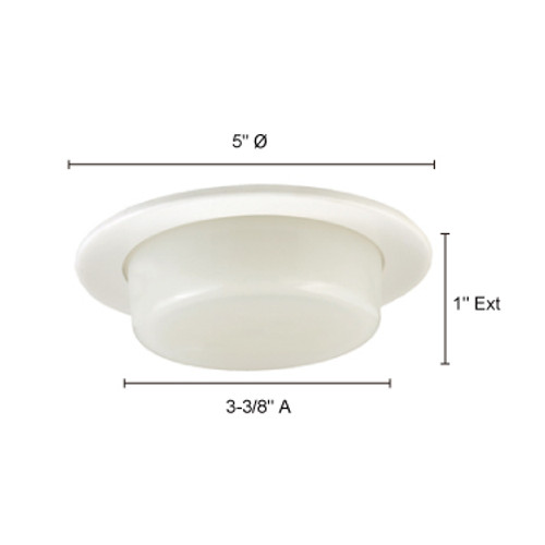 JESCO Lighting TM210WH 4-INCH Dropped Shower Trim w. Opal Glass, White