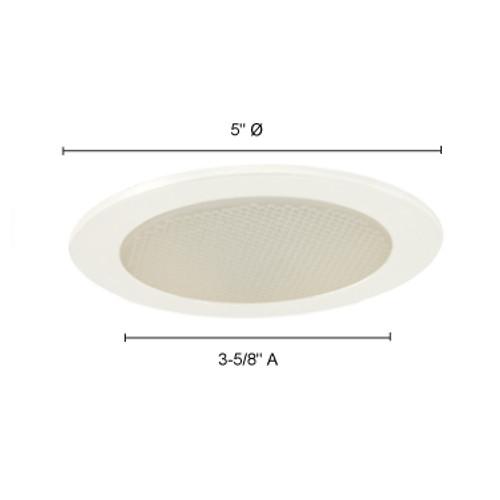 JESCO Lighting TM212WH 4-INCH Albalite Glass Shower w. Metal Ring, White