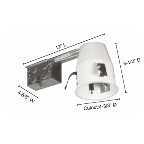 """JESCO Lighting RS2000RA 4"""" Line Voltage Non IC Airtight Housing For Remodeling"""