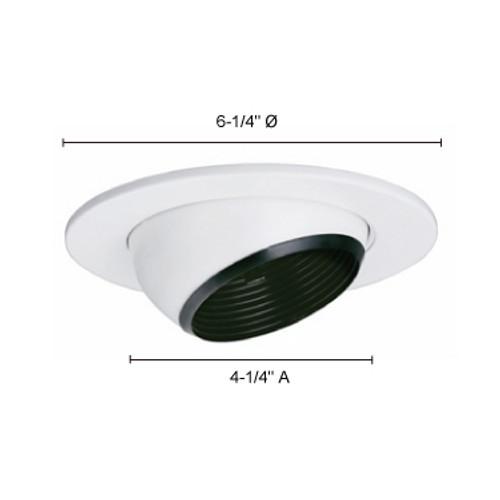 "JESCO Lighting TM5535BKWH 5"" Line Voltage Adjustable Eyeball with Step Baffle, Black Baffle, White Trim"