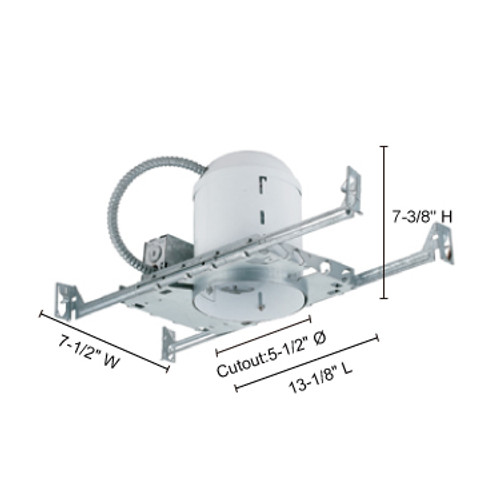 """JESCO Lighting RS5500BA 5"""" Line Voltage Non-IC Airtight Housing for New Construction"""