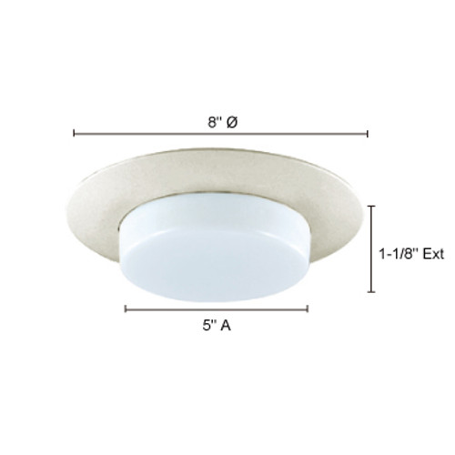JESCO Lighting TM605WH 6-INCH Dropped Shower Trim with Opal Glass, White