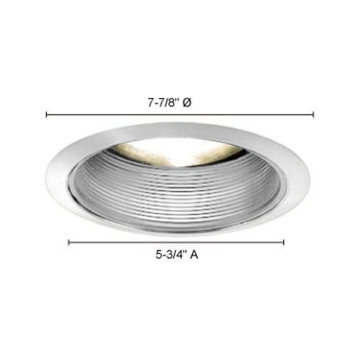 """JESCO Lighting TM608WHCH 6"""" Line Voltage Step Baffle Trim, White Baffle, Chrome Trim"""