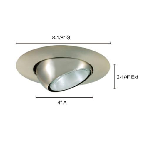 "JESCO Lighting TM613ST 6"" Line Voltage Adjustable Eyeball, Satin Chrome"