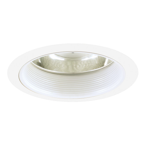 """JESCO Lighting TM614WHWH 6"""" Line Voltage Specular Reflector with Step Baffle, White Baffle, White Trim"""